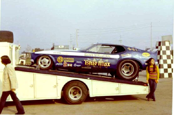 Blue Max 71 Mustang FC on ramp truck